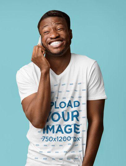 V-Neck T-Shirt Mockup of a Happy Bearded Man Talking on the Phone 38822-r-el2