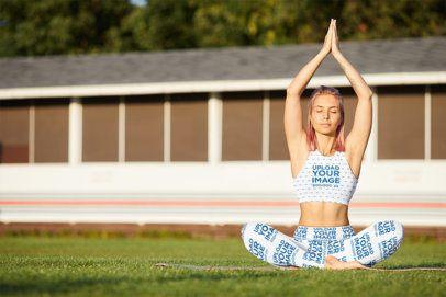 Mockup of a Female Yogi Wearing a Sports Bra and Leggings 38590-r-el2