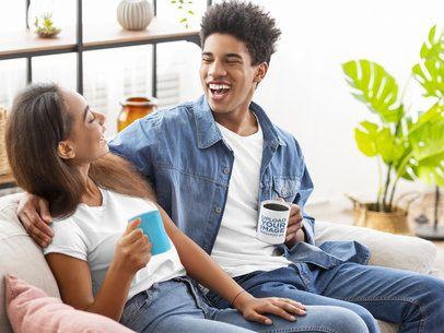 11 oz Coffee Mug Mockup Featuring a Man Laughing with His Girlfriend 38866-r-el2