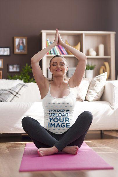 Tank Top Mockup of a Happy Pregnant Woman Doing a Morning Meditation 38452-r-el2