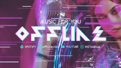 Twitch Offline Banner Template with a Vintage Glitch Aesthetic for a Musician 2700a