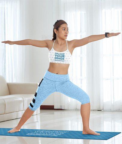 Heather Sports Bra Mockup of a Woman Standing on a Yoga Mat 38715-r-el2