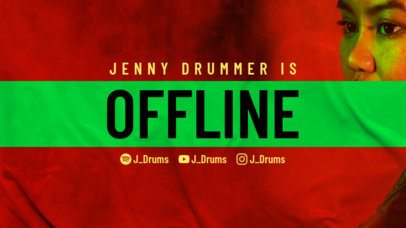 Twitch Offline Banner Template with a Grunge Aesthetic for a Drummer 2705a