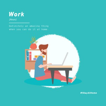 Social Media Post Maker with a Work From Home-Themed Illustration 1983c-el1