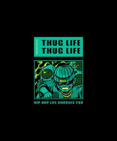 Hip-Hop T-Shirt Design Creator with the Graphic of a Rapper 2081e-el1
