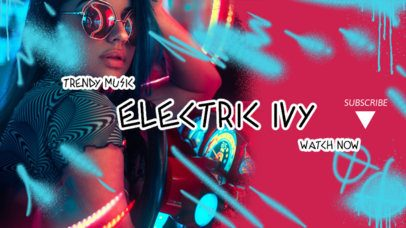 YouTube Banner Creator Featuring Neon Graffiti Icons for an EDM Channel 2704d
