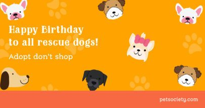 Dogust-Themed Facebook Post Maker Featuring a Birthday Quote for Rescue Dogs 2702b