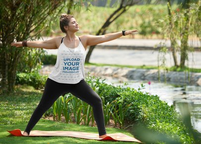 Tank Top Mockup of a Woman Doing Yoga by a River 38484-r-el2