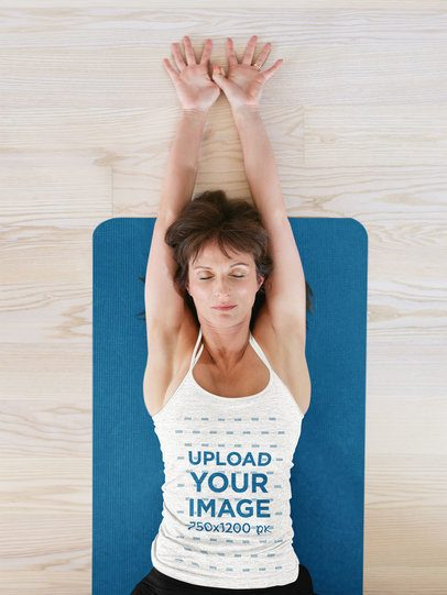 Heathered Tank Top Mockup of a Woman Lying With Her Arms Stretched 38353-r-el2