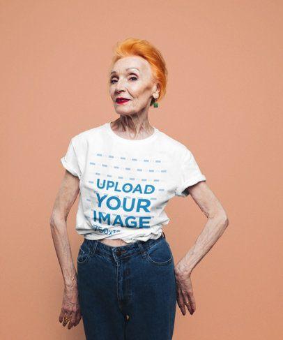 Mockup of a Senior Woman Posing at a Studio with a T-Shirt 39044-r-el2