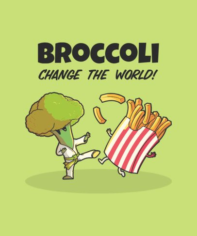 Illustrated T-Shirt Design Template Featuring a Broccoli and French Fries Doing Karate 2190g-el1