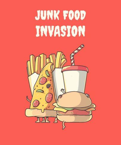 T-Shirt Design Creator Featuring Junk Food Characters 2190i-el1