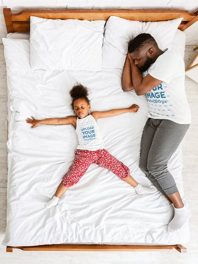T-Shirt and Tank Top Mockup Featuring a Dad and His Daughter Taking a Nap 39232-r-el2