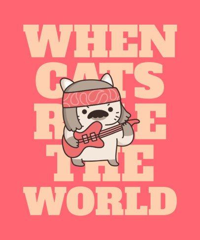 Kawaii T-Shirt Design Template with a Rocking Cat Graphic 2715b
