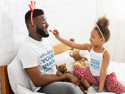 Tank Top and Tee Mockup of a Little Girl Applying Make-Up to Her Dad 39242-r-el2