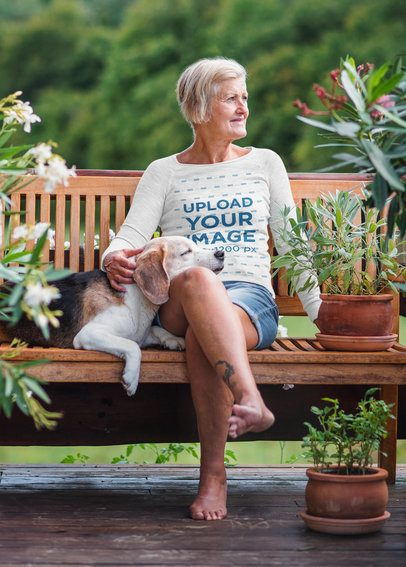 Heathered Long Sleeve Tee Mockup of a Woman Sitting on a Bench With Her Dog 39139-r-el2