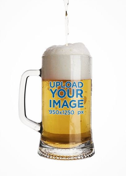 Beer Glass Mockup with a Plain Customizable Background 37317-r-el2