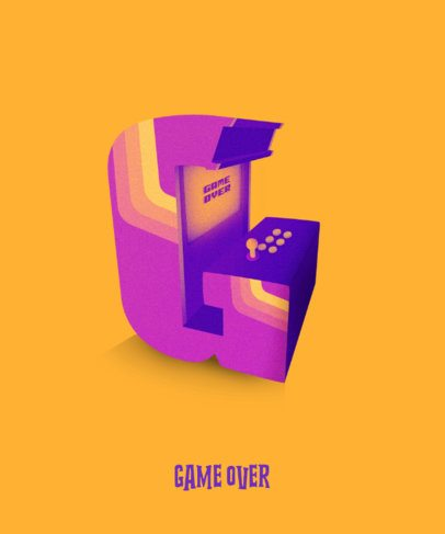 T-Shirt Design Template Featuring a Gamer-Style 3D Letter 2725e
