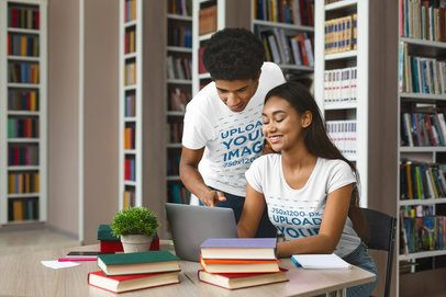 T-Shirt Mockup Featuring a Couple of Students at a Library 39346-r-el2