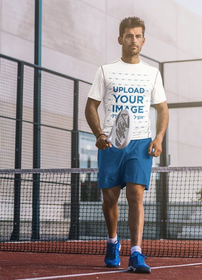 Tee Mockup of a Man with a Racket at a Tennis Court 37973-r-el2