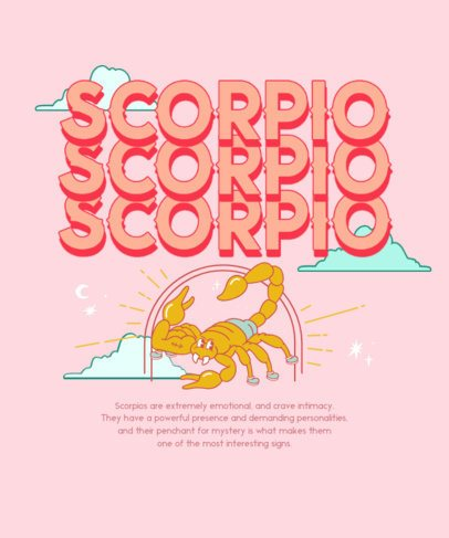 Illustrated Zodiac T-Shirt Design Maker Featuring a Scorpion Graphic 2723h