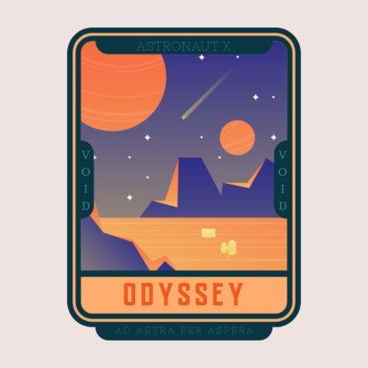 Logo Template Featuring Galactic Illustrations with a 60's Style 3452e