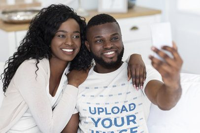 T-Shirt Mockup of a Man Taking a Selfie with His Girlfriend 39039-r-el2