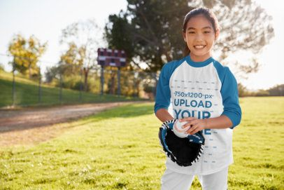 Three-Quarter Sleeve Tee Mockup of a Girl Playing Baseball for Fun 39384-r-el2