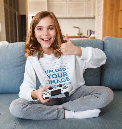 Sweatshirt Mockup of a Little Girl Playing Video Games 39408-r-el2