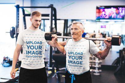 T-Shirt Mockup of a Fitness Coach Training a Senior Man 39610-r-el2
