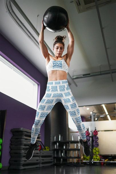 Leggings and Sports Bra Mockup Featuring a Woman Jumping 35286-r-el2