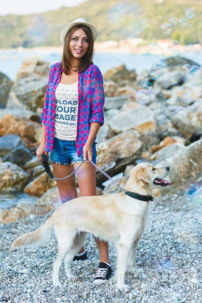 Tank Top Mockup of a Woman With Her Dog at the Beach 39122-r-el2