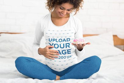 Long Sleeve Tee Mockup Featuring a Joyful Pregnant Woman Sitting on Her Bed 37362-r-el2