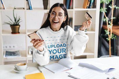 Sweatshirt Mockup of a Woman Shopping from Home 39556-r-el2
