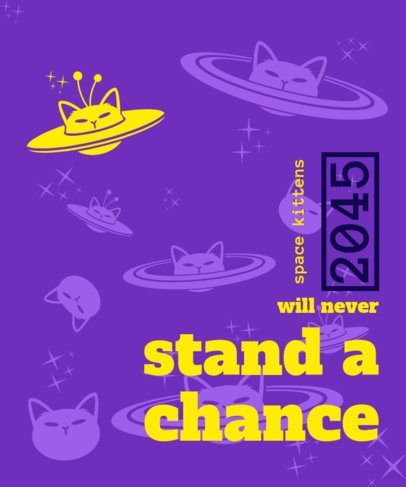 Trendy T-Shirt Design Template with Alien Cats Graphics 2735d