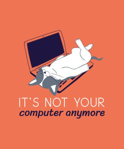 Illustrated T-Shirt Design Maker with a Cat Lying on a Keyboard 2736d