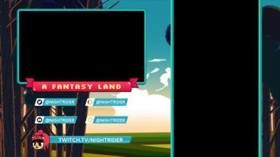 Twitch Overlay Generator for Mobile Gaming Featuring Illustrated Fantasy Scenery 2727d