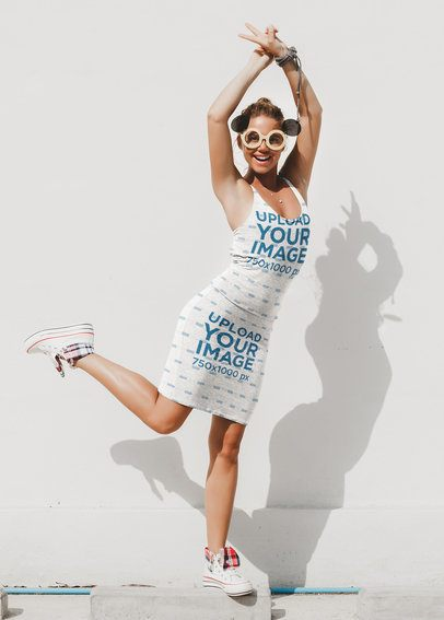 Tank Top Mockup of a Funny Woman Wearing a Pencil Skirt 38624-r-el2