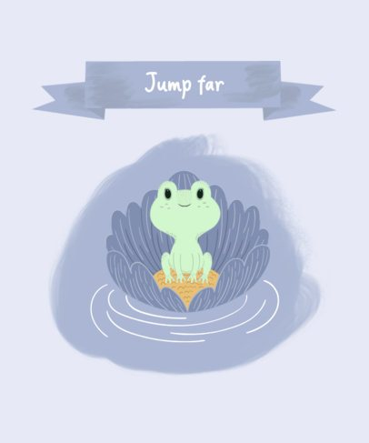 Kids T-Shirt Design Template Featuring a Cute Frog on a Leaf 2324e-el1