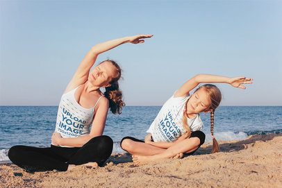 T-Shirt and Tank Top Mockup of a Woman and a Girl Doing Yoga at the Beach 35249-r-el2