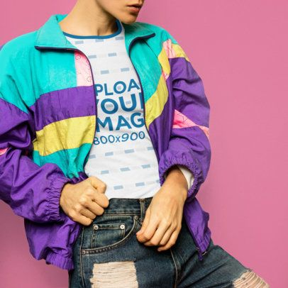 Ringer T-Shirt Mockup of a Trendy Woman Wearing an '80s-Style Jacket 37374-r-el2