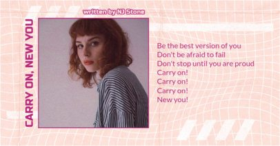 Facebook Post Creator for Song Lyrics with a Distorted Grid Background 2747j