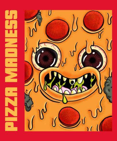T-Shirt Design Creator Featuring a Cheesy Pizza Face 2768a