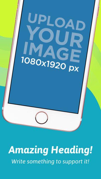 iOS Screenshot Builder of a Pink iPhone Floating Diagonally 1358