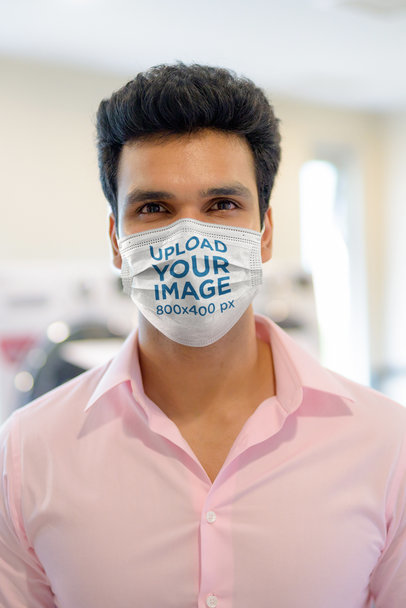 Mockup of a Man Wearing a Sublimated Face Mask at a Hospital 40282-r-el2