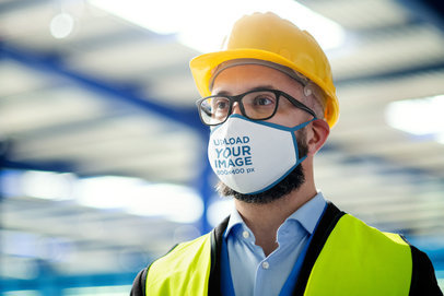 Mockup of a Civil Engineer Wearing a Face Mask at Work 39661-r-el2