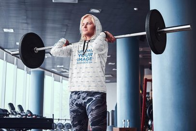 Sublimated Hoodie Mockup of a Woman Lifting a Barbell 39672-r-el2