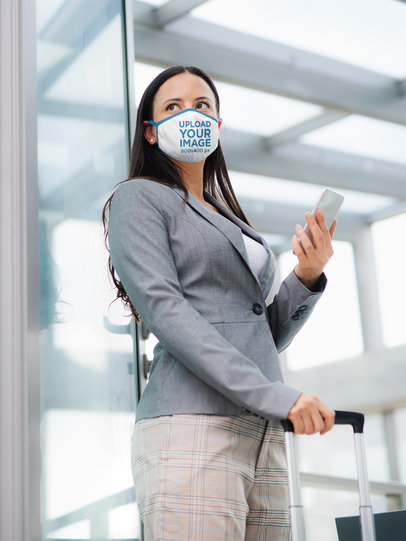 Mockup of a Businesswoman Wearing a Face Mask 39926-r-el2