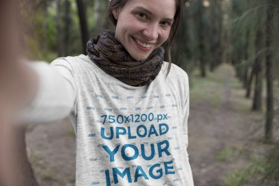 Heather Long-Sleeve Tee Mockup of a Woman Taking a Selfie in the Forest 17908