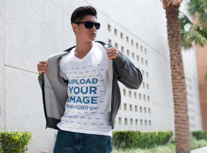 V-Neck Tee Mockup of a Cool Young Man with Sunglasses 5580a